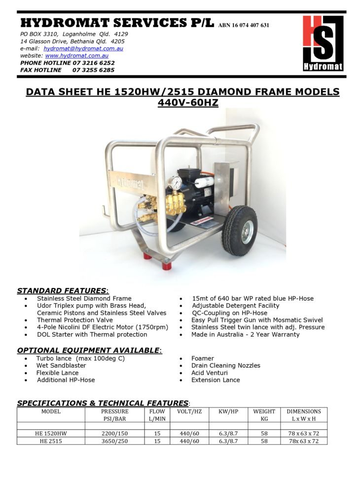 thumbnail of HE 1520HW-2515 Diamond 440V-60HZ
