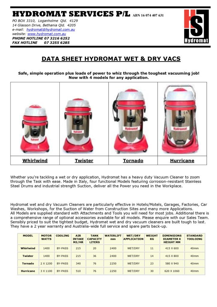 thumbnail of HS IND VACUUMS